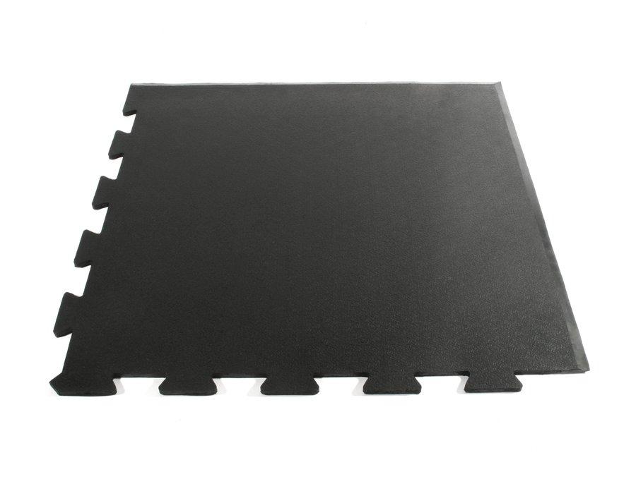 Černá gumová modulární rohová fitness deska Sport Tile - délka 61 cm, šířka 61 cm a výška 1 cm
