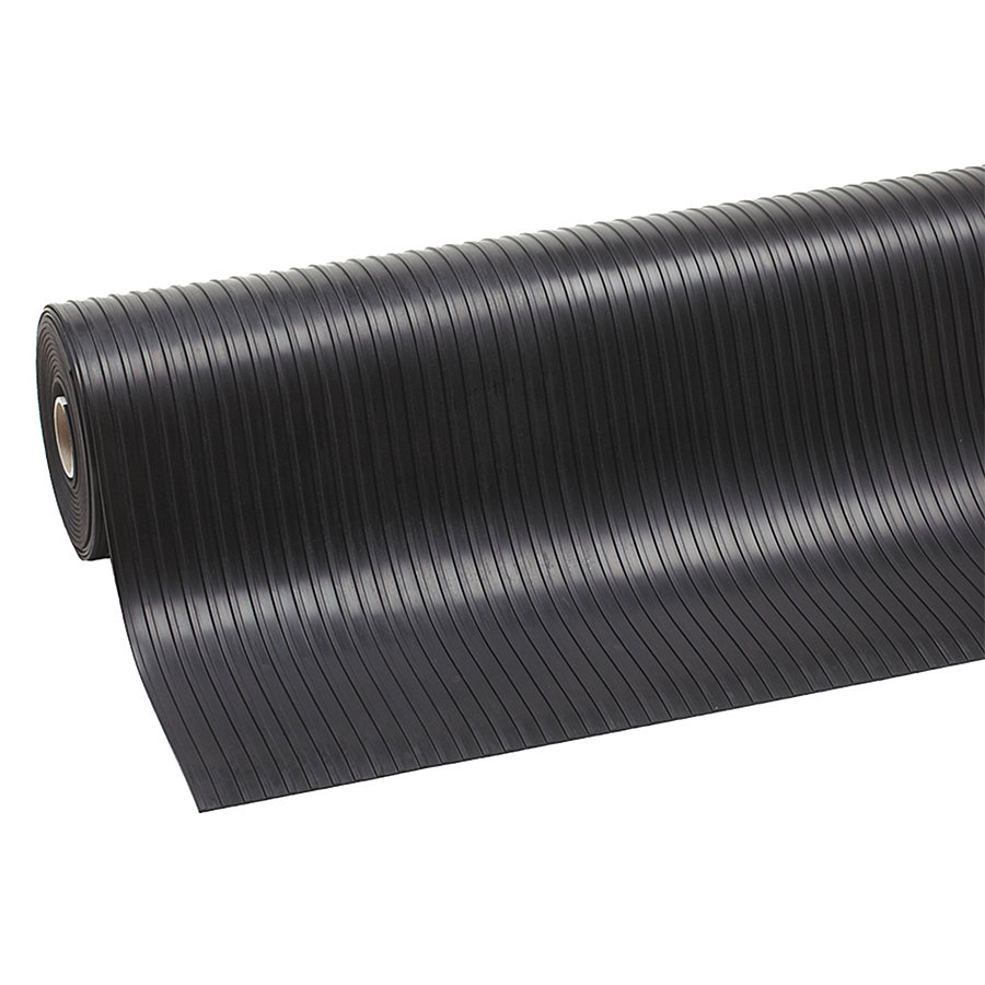 Černá průmyslová rohož Rib 'n' Roll, 02 - délka 10 m, šířka 120 cm a výška 0,3 cm
