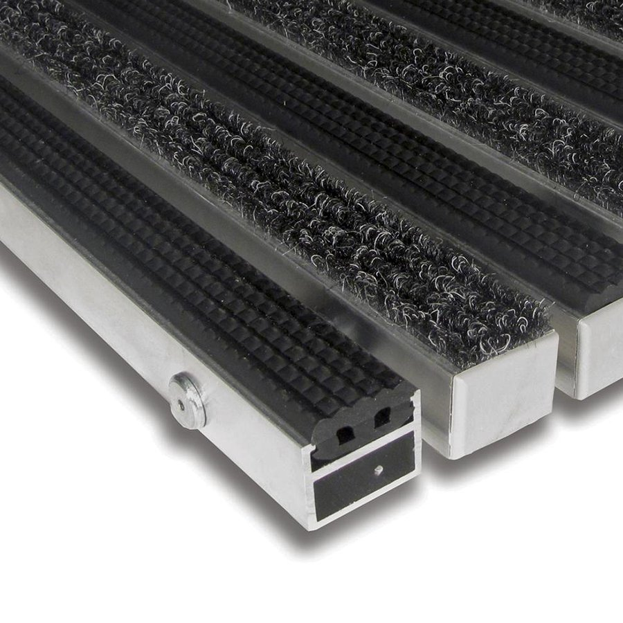 Textilní gumová hliníková vnitřní vstupní rohož Alu Standard, FLOMA (Bfl-S1) - délka 1 cm, šířka 1 cm a výška 2,7 cm