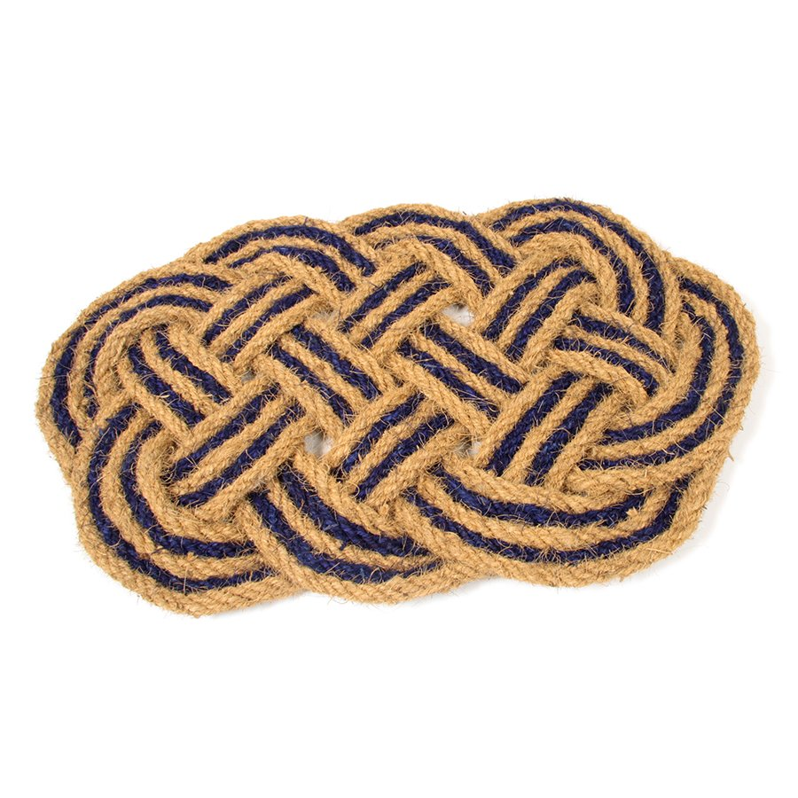 Kokosová vstupní venkovní čistící rohož Jumbo Oval Blue, FLOMA - délka 45 cm, šířka 75 cm a výška 3,5 cm