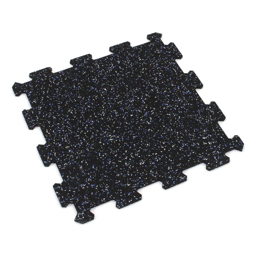 Černo-bílo-modrá gumová puzzle modulová dlažba FLOMA SF1050 FitFlo - délka 95,6 cm, šířka 95,6 cm a výška 0,8 cm