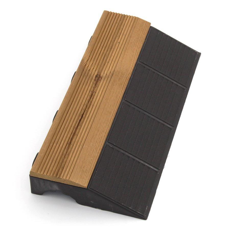 """Hnědý dřevoplastový nájezd """"samec"""" pro terasové dlaždice Linea Combi-Wood - délka 40 cm, šířka 20,5 cm a výška 6,5 cm"""