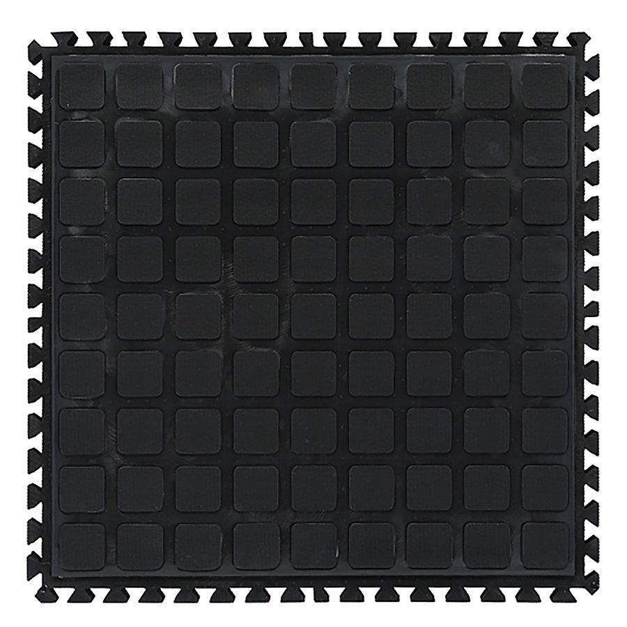 Černá podlahová protiúnavová protiskluzová dlaždice (střed) - délka 45 cm, šířka 45 cm a výška 2 cm