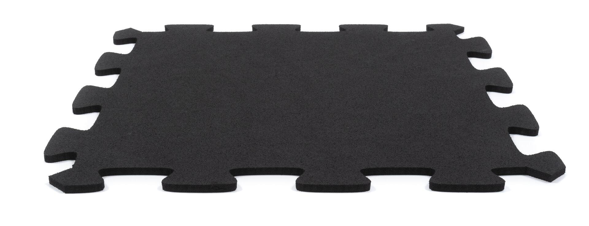 Černá gumová puzzle terasová dlažba FLOMA Comfort Tile - délka 40 cm, šířka 40 cm a výška 2,2 cm