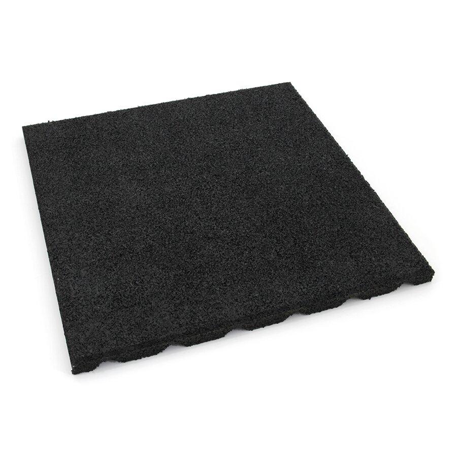 Černá gumová dlažba (V30/R15) FLOMA S800 - délka 50 cm, šířka 50 cm a výška 3 cm