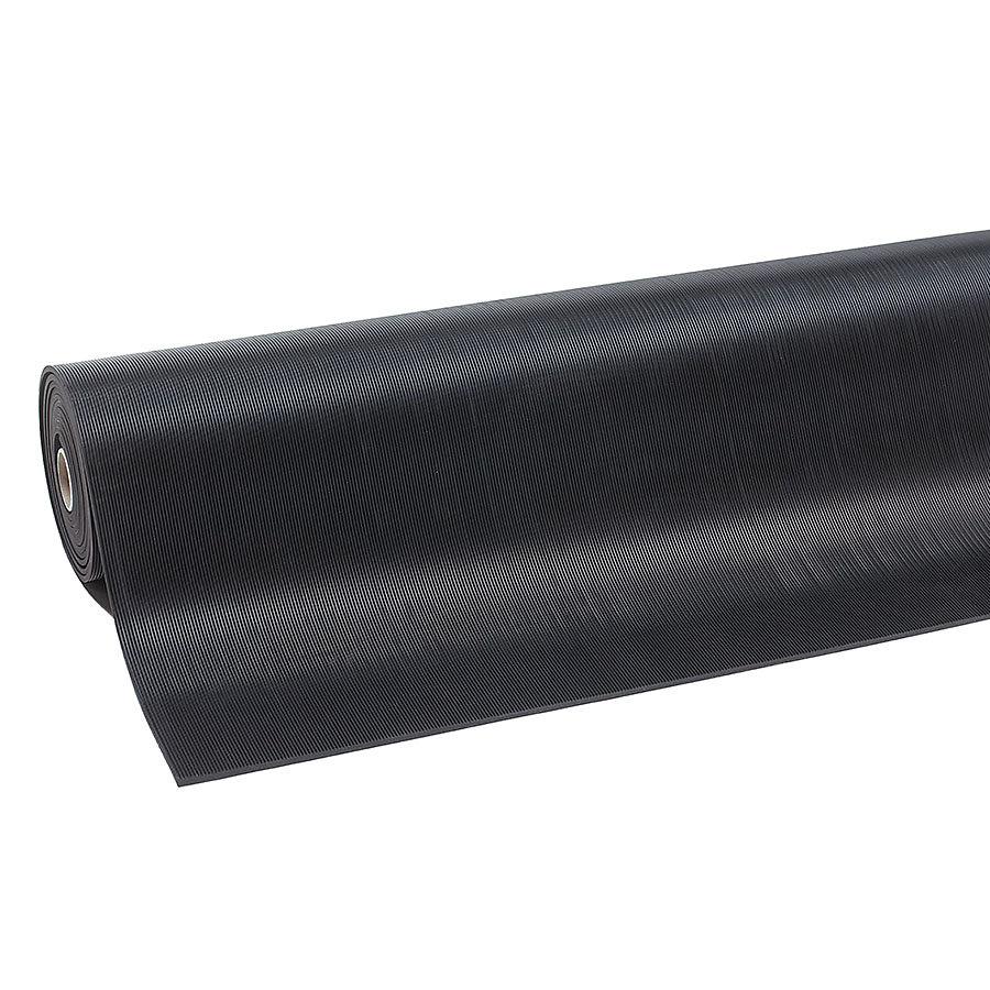 Černá průmyslová rohož Rib 'n' Roll - šířka 100 cm a výška 0,6 cm