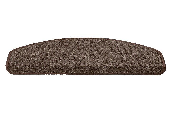 Hnědý kobercový půlkruhový nášlap na schody Imola - délka 65 cm a šířka 25 cm