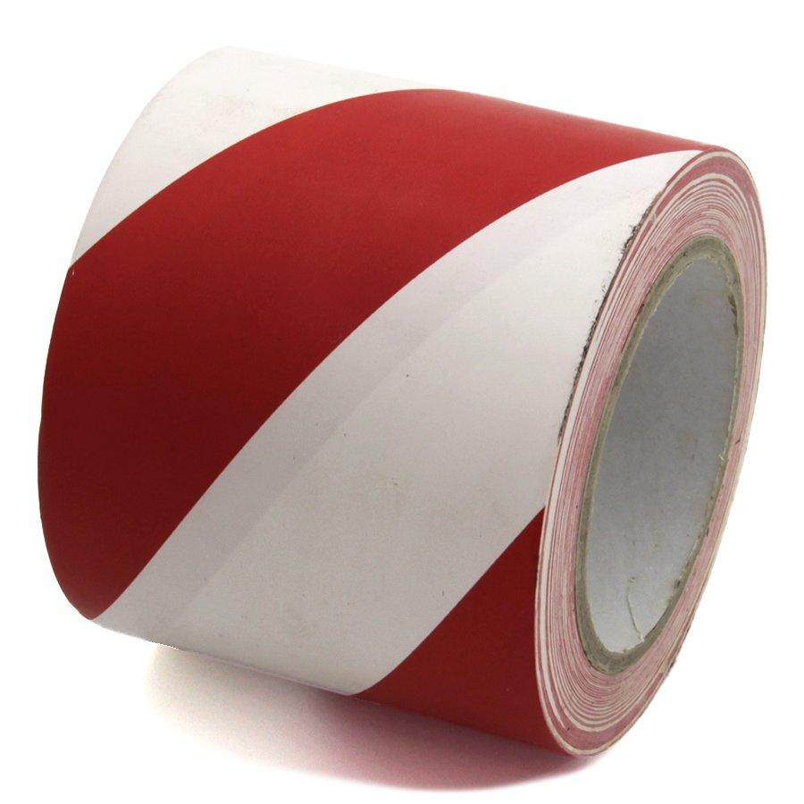 Bílo-červená levá výstražná páska - délka 33 m a šířka 10 cm
