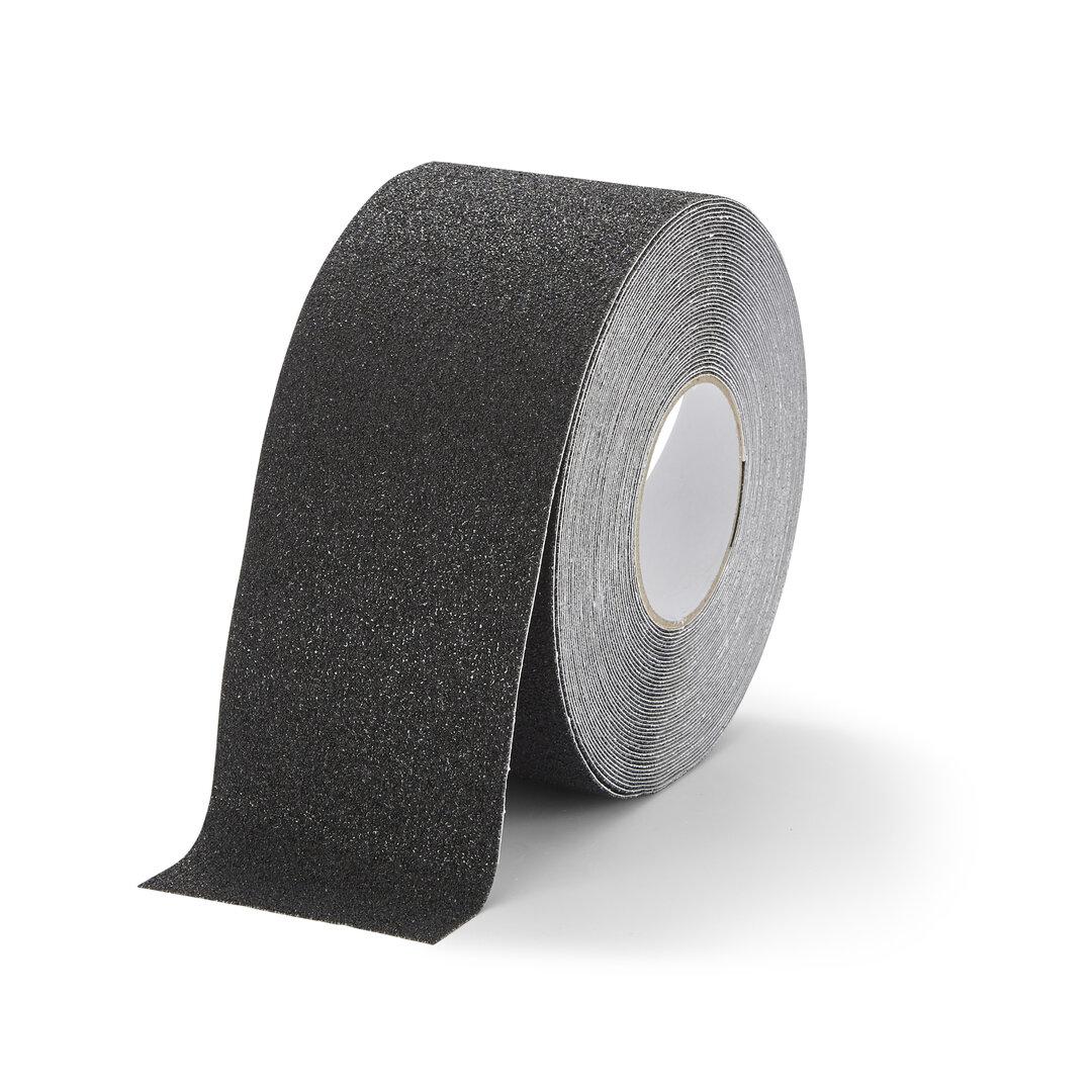 Černá korundová chemicky odolná protiskluzová podlahová páska FLOMA Super - délka 18,3 m a šířka 10 cm
