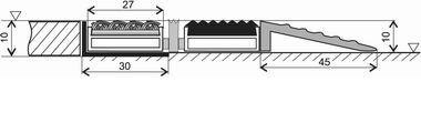 Hliníková textilní vstupní vnitřní rohož Alu Low, FLOMA - délka 100 cm, šířka 100 cm a výška 1 cm