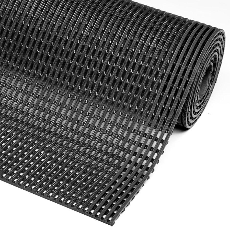Černá metrážová olejivzdorná protiskluzová průmyslová rohož Flexdek - délka 1 cm a výška 1,2 cm