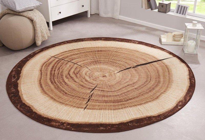 Hnědý kusový kulatý koberec Bastia Special
