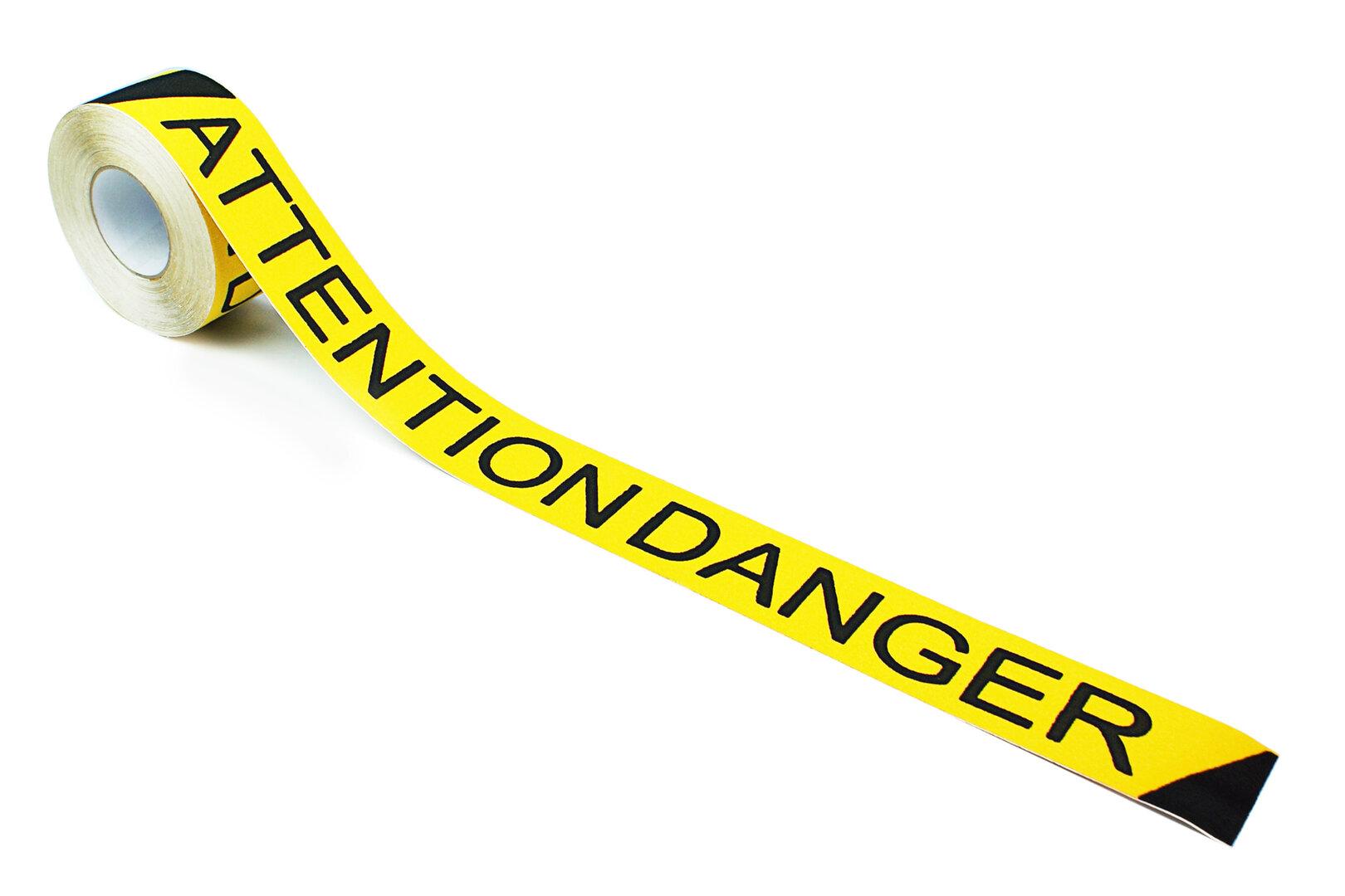 Černo-žlutá korundová protiskluzová páska s potiskem FLOMA Attention Danger - délka 18,3 m a šířka 7,5 cm