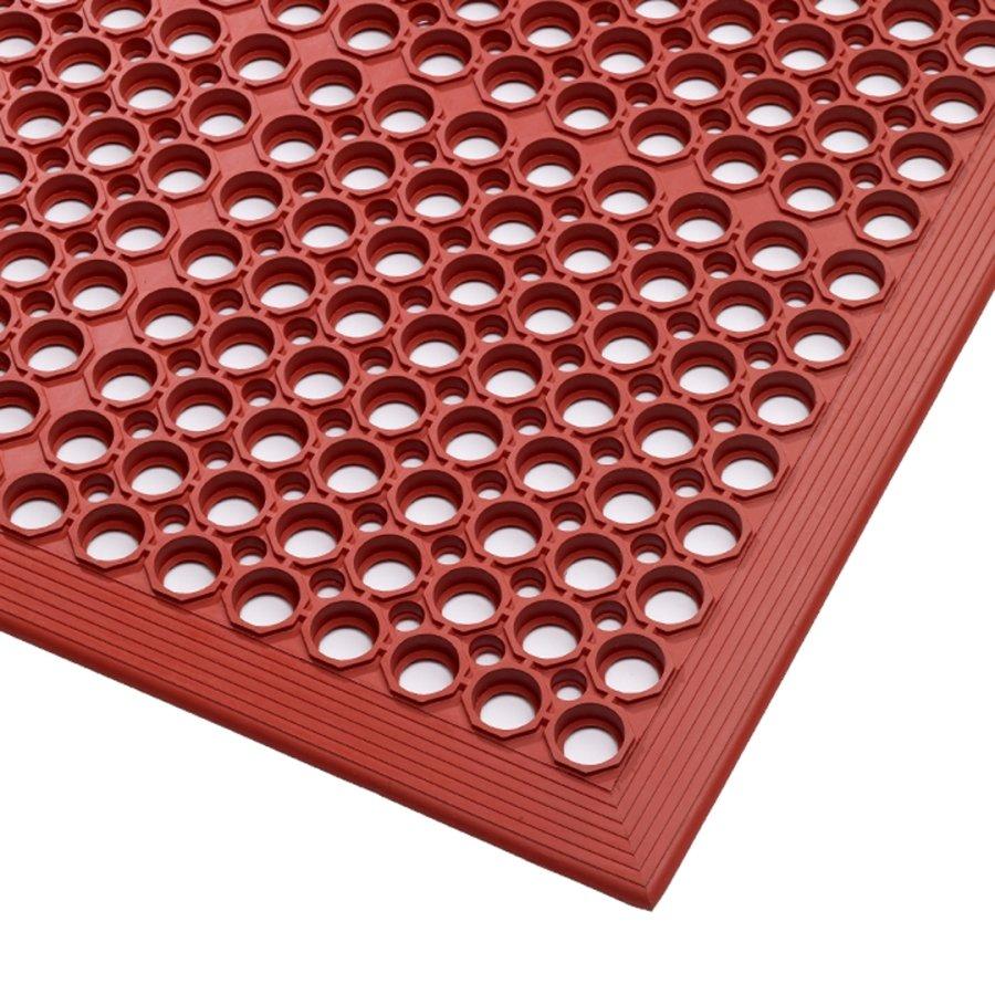 Červená gumová kuchyňská protiskluzová rohož Red, Sanitop - délka 91 cm a výška 1,27 cm