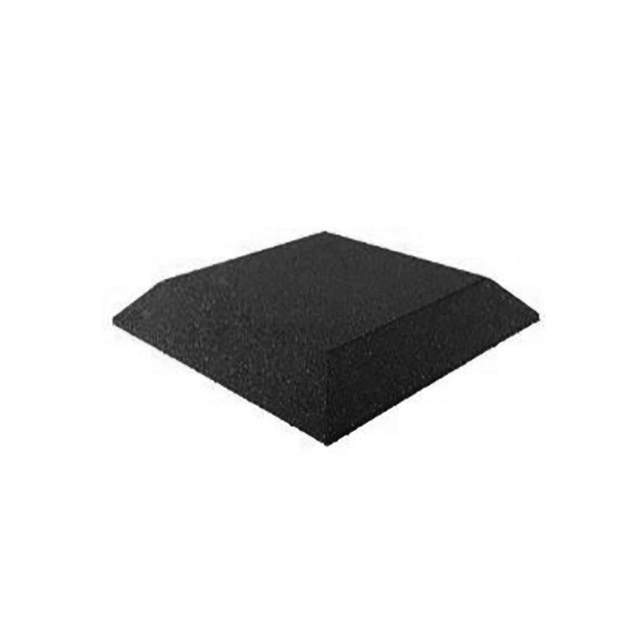 Černá gumová krajová dopadová dlaždice (roh) (V65/R00) FLOMA - délka 50 cm, šířka 50 cm a výška 6,5 cm