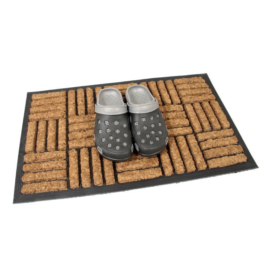 Kokosová čistící venkovní vstupní rohož Lines - Squares, FLOMA - délka 45 cm, šířka 75 cm a výška 2 cm