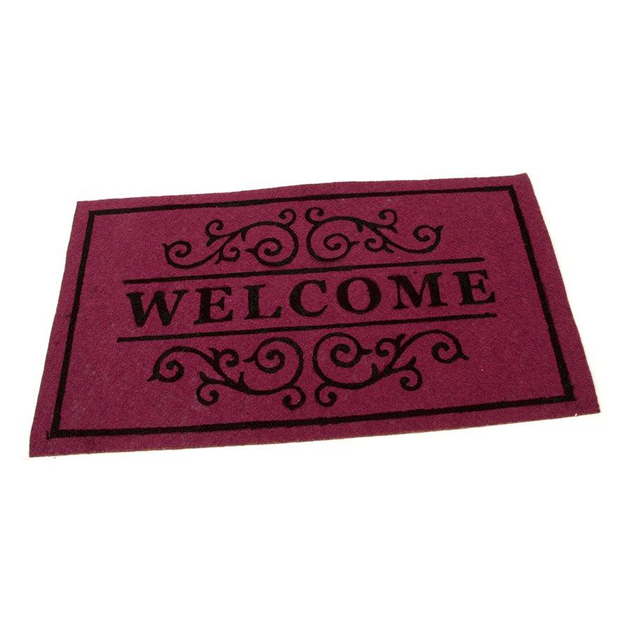 Vínová textilní vstupní čistící vnitřní rohož Welcome - Deco, FLOMAT - délka 33 cm, šířka 58 cm a výška 0,3 cm