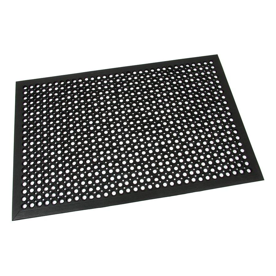 Černá gumová průmyslová protiúnavová protiskluzová olejivzdorná rohož (75% nitrilová pryž) Workmate, FLOMA - délka 120 cm, šířka 80 cm a výška 1,4 cm