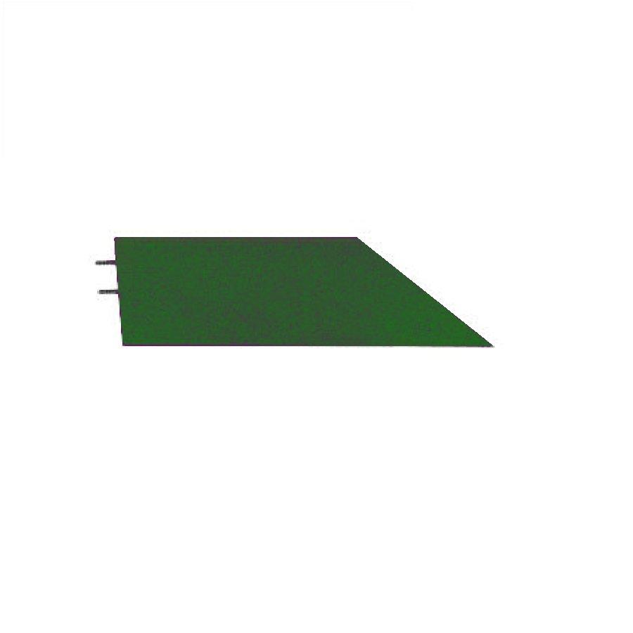 Zelený levý nájezd (roh) pro gumové dlaždice - délka 75 cm, šířka 30 cm a výška 4 cm