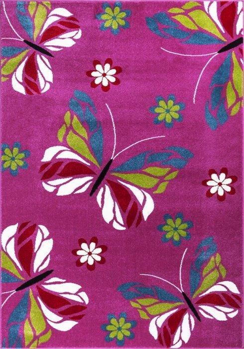 Růžový kusový dětský koberec - délka 230 cm a šířka 160 cm