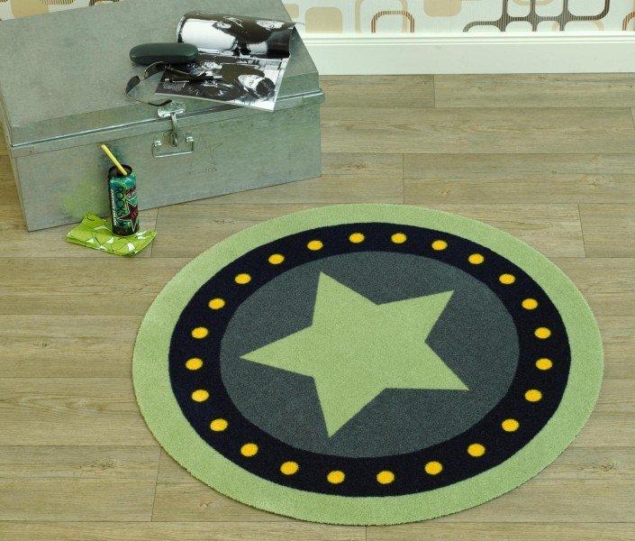 Zelený dětský kusový moderní kulatý koberec Deko Round - průměr 100 cm