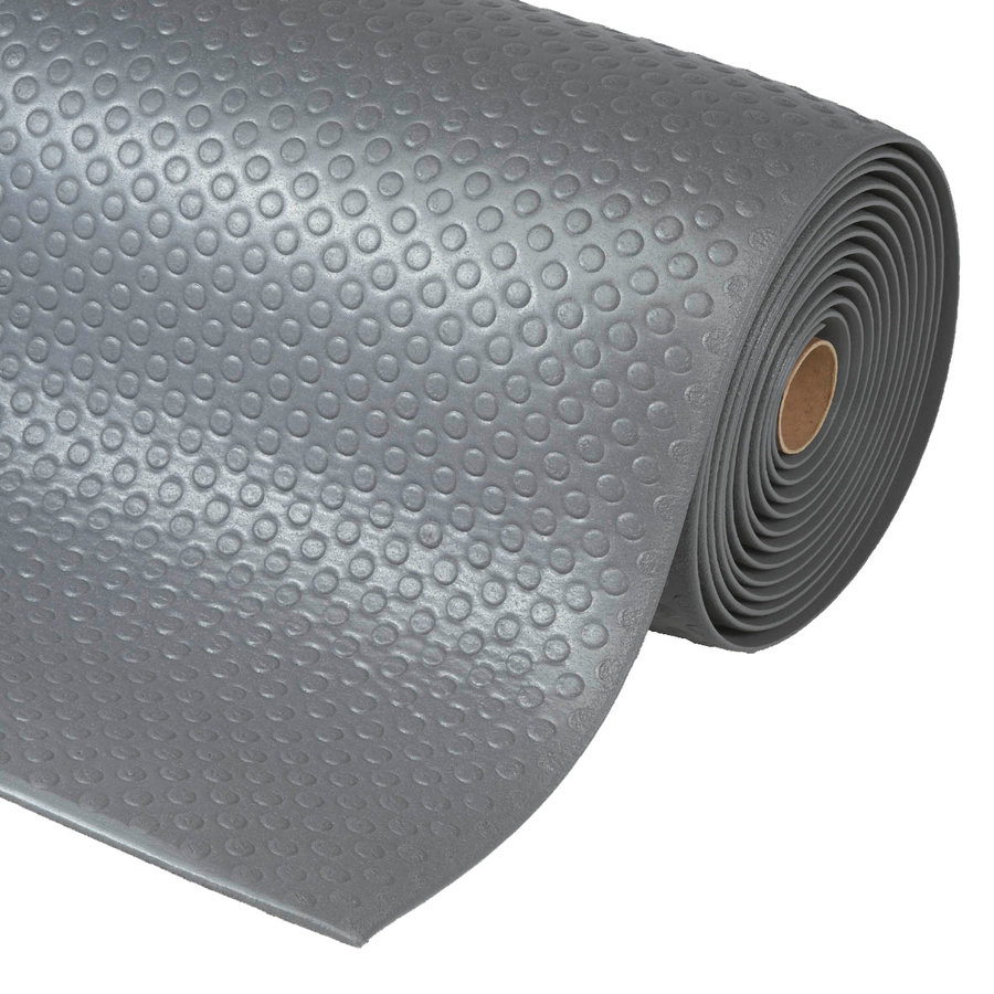 Šedá metrážová protiúnavová průmyslová rohož - výška 1,27 cm