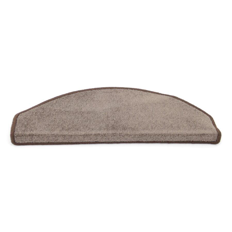 Hnědý kobercový půlkruhový nášlap na schody Parma - délka 25 cm a šířka 65 cm