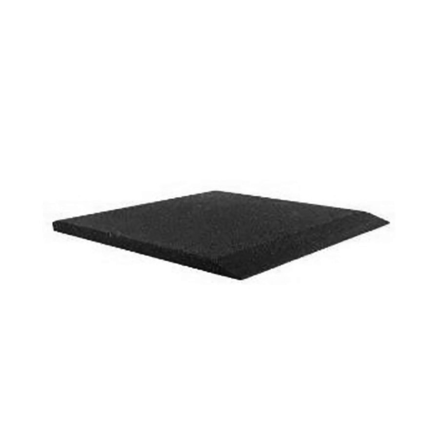 Černá gumová krajová dopadová dlaždice (V40/R00) FLOMA - délka 50 cm, šířka 50 cm a výška 4 cm