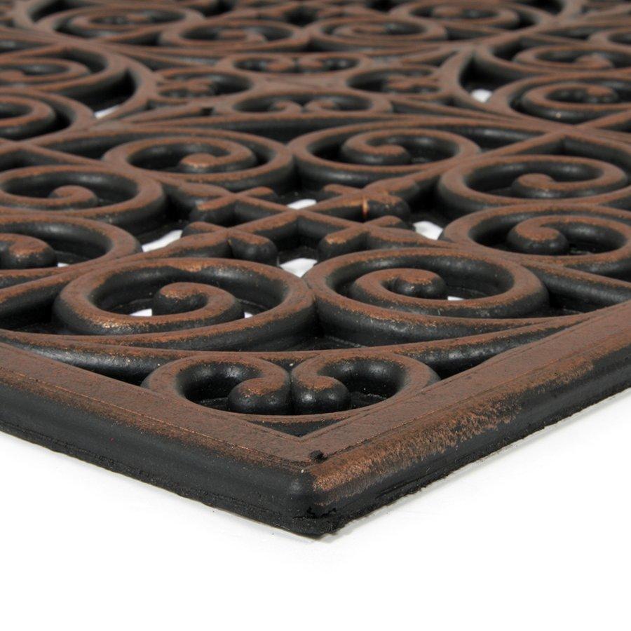 Bronzová gumová čistící venkovní vstupní rohož Circles - Deco, FLOMAT - délka 45 cm, šířka 120 cm a výška 0,9 cm