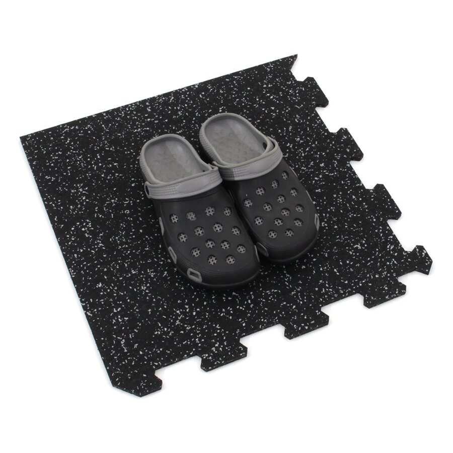 Černo-šedá gumová modulová puzzle dlažba (roh) FLOMA FitFlo SF1050 - délka 95,6 cm, šířka 95,6 cm a výška 1,6 cm