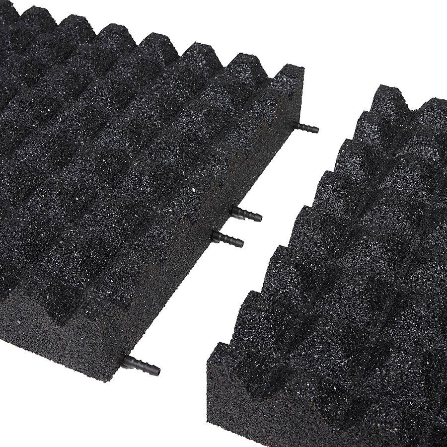 Černá gumová dopadová dlaždice (V90/R28) FLOMA - délka 50 cm, šířka 50 cm a výška 9 cm