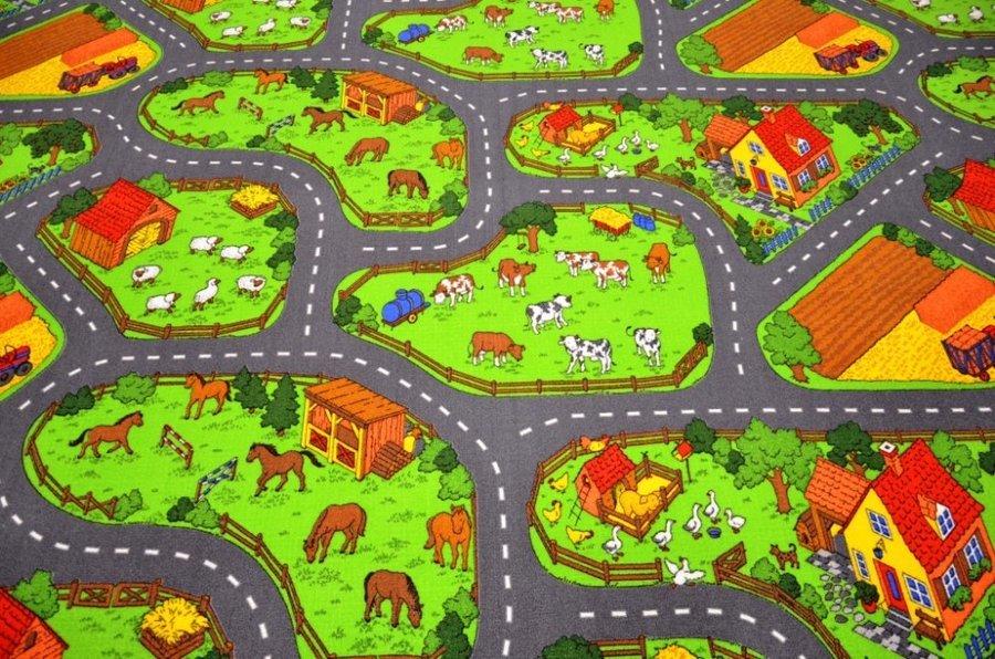 Různobarevný dětský hrací kusový koberec Farma 2 - šířka 133 cm