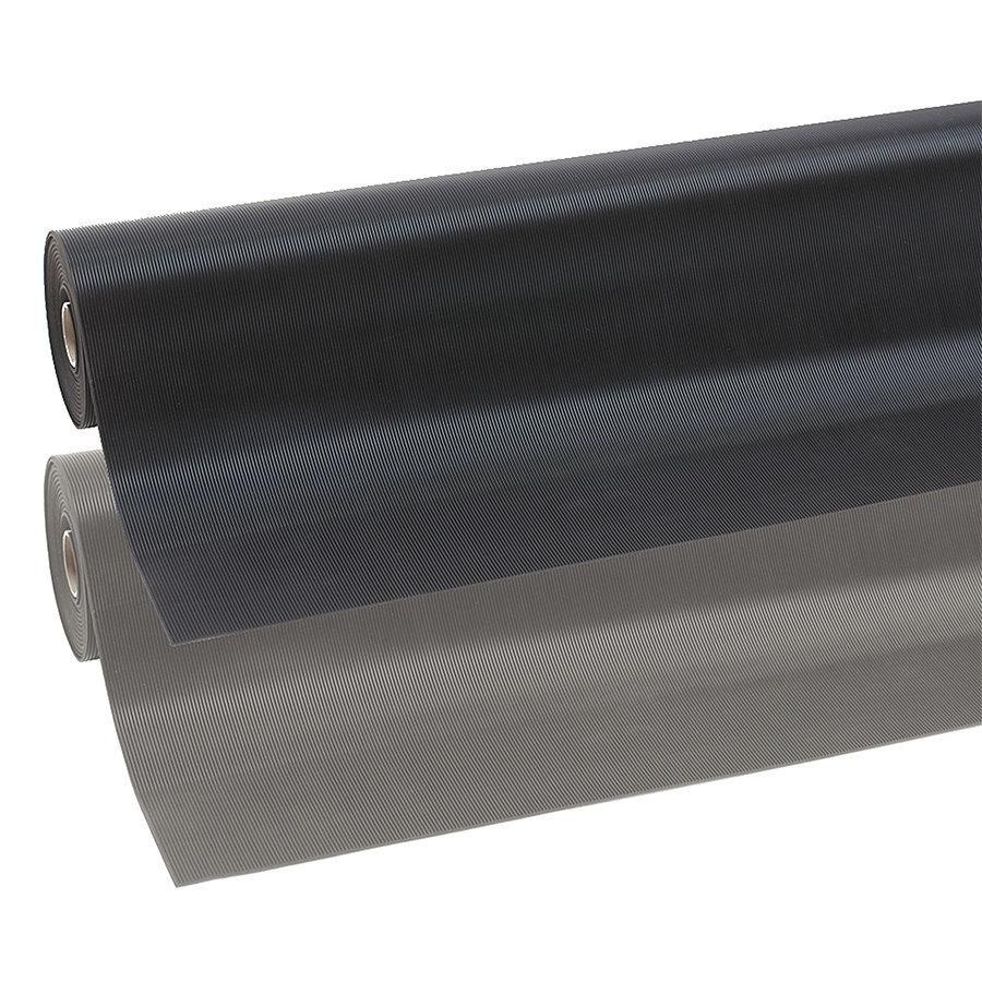 Černá průmyslová rohož Rib 'n' Roll, 01 - délka 10 m, šířka 120 cm a výška 0,3 cm