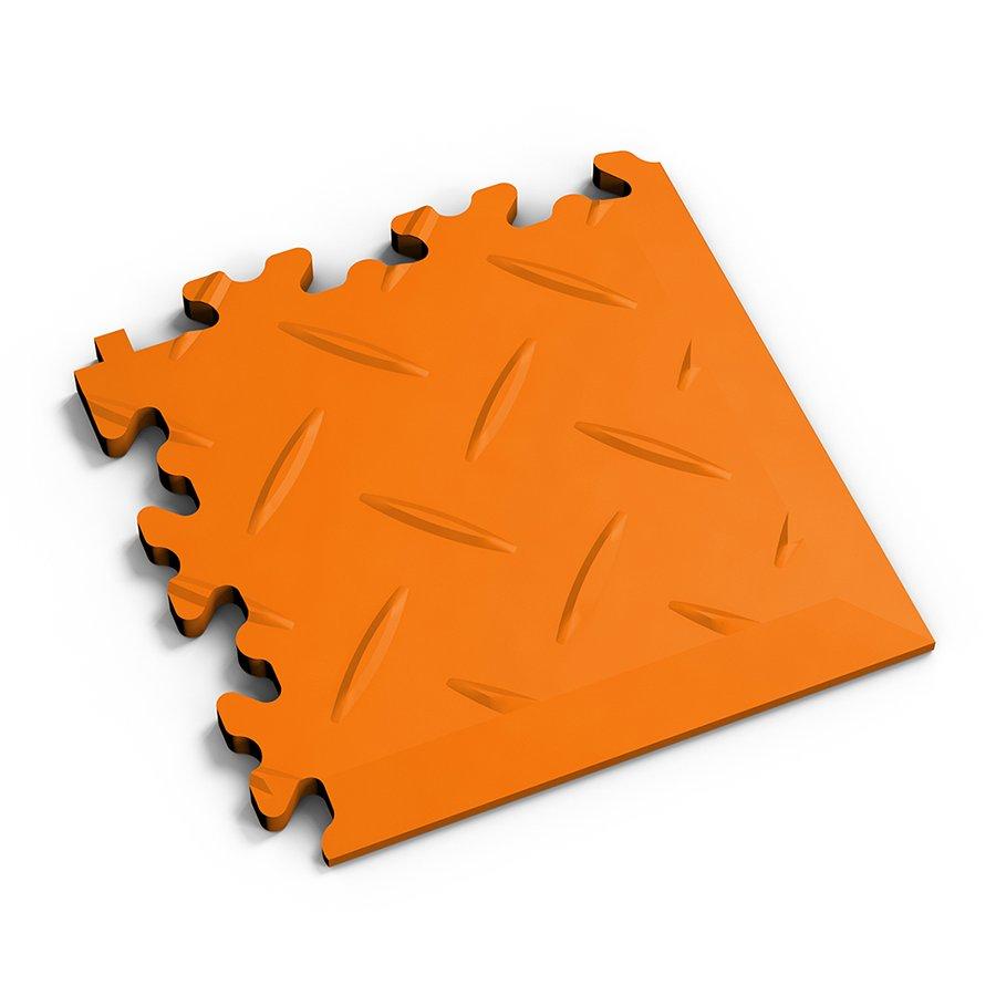 Oranžový vinylový plastový rohový nájezd 2016 (diamant), Fortelock - délka 14 cm, šířka 14 cm a výška 0,7 cm