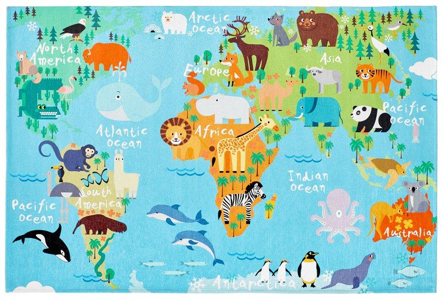 Různobarevný hrací dětský kusový koberec na koberec Torino Kids - délka 170 cm a šířka 120 cm