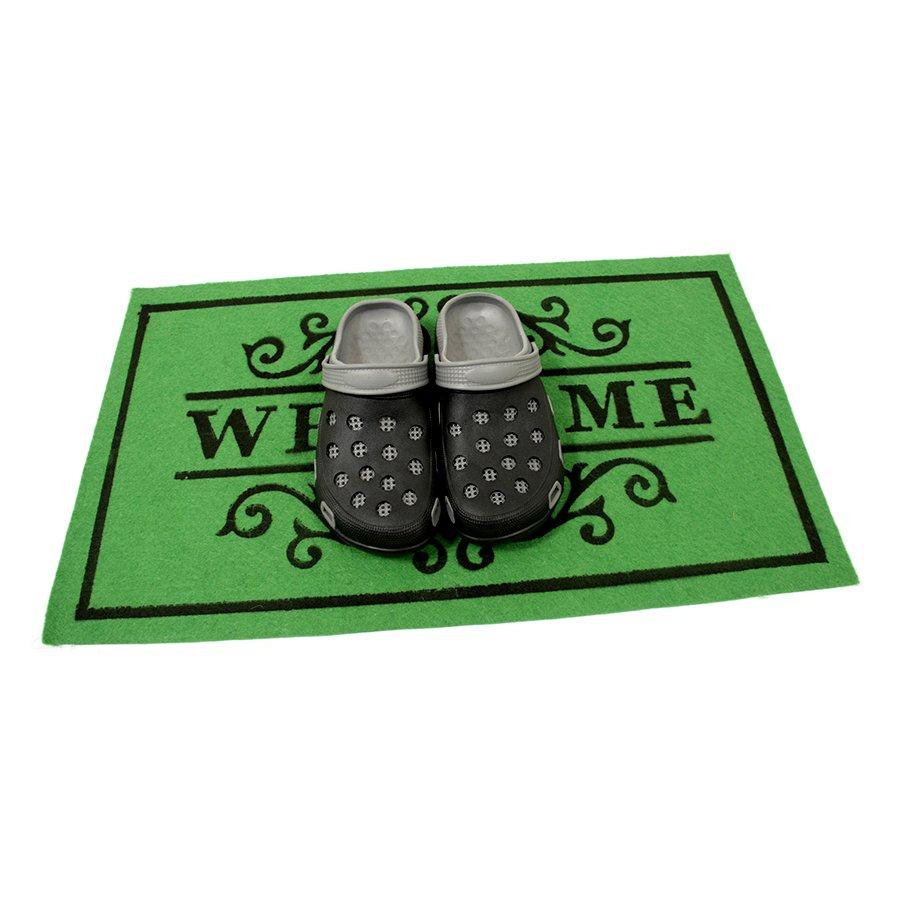 Zelená textilní čistící vnitřní vstupní rohož FLOMA Welcome - Deco - délka 45 cm, šířka 75 cm a výška 0,3 cm