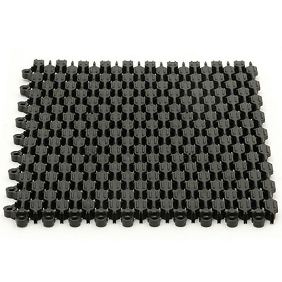 Černá plastová čistící vstupní rohož (dlaždice) Helix Z1 - délka 22,9 cm, šířka 30,5 cm a výška 1,1 cm