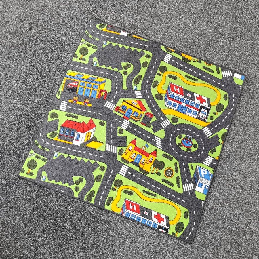 Různobarevný hrací kusový dětský koberec Město - délka 133 cm a šířka 133 cm
