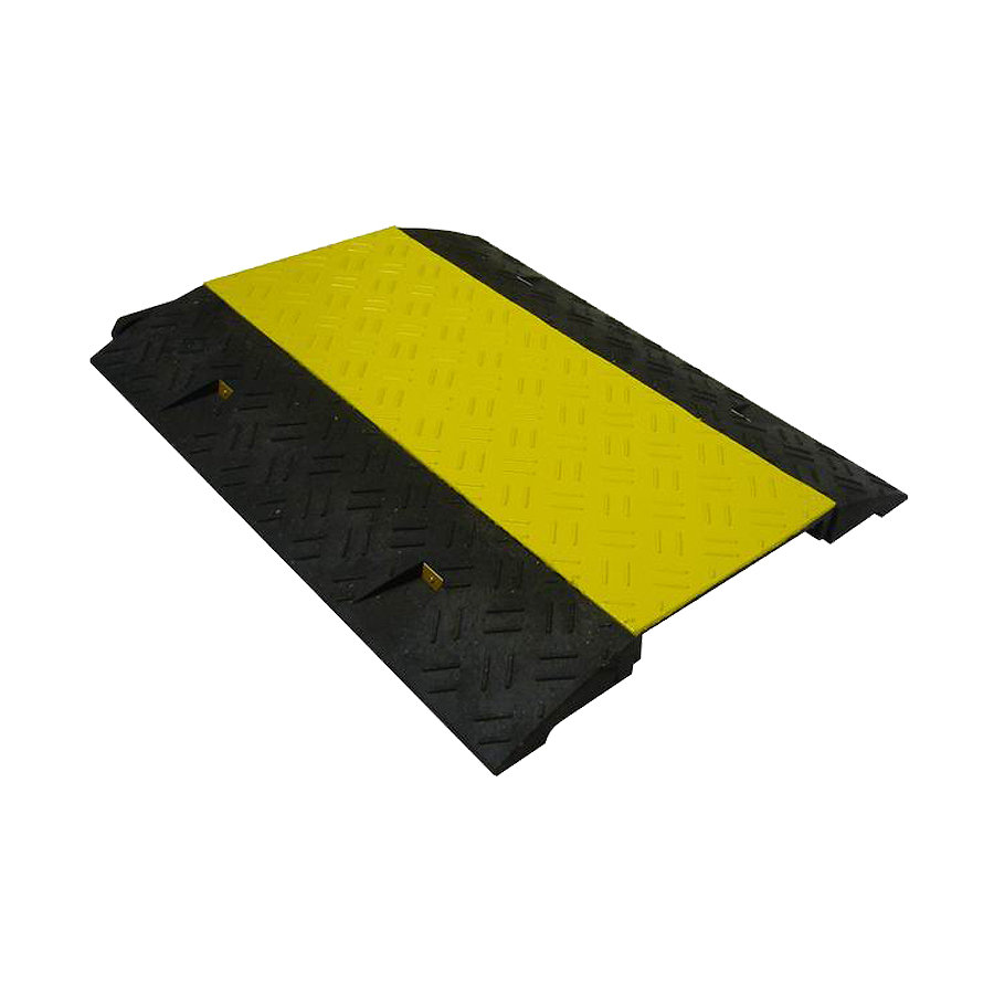 Černo-žlutý plastový kabelový most s víkem - délka 80 cm, šířka 60 cm a výška 6 cm