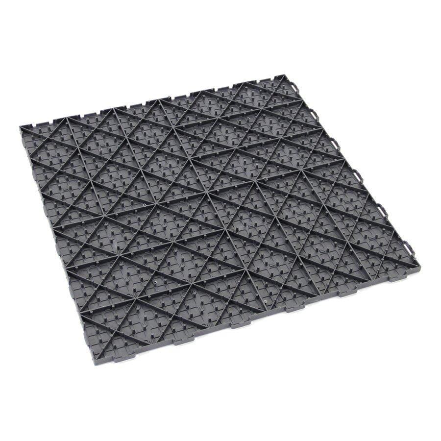 Tmavě šedá plastová terasová dlažba Linea Marte - délka 56,3 cm, šířka 56,3 cm a výška 1,3 cm