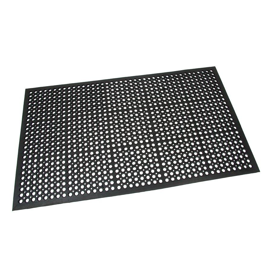 Černá gumová průmyslová protiúnavová protiskluzová olejivzdorná rohož (75% nitrilová pryž) Workmate, FLOMA - délka 90 cm, šířka 150 cm a výška 1,4 cm