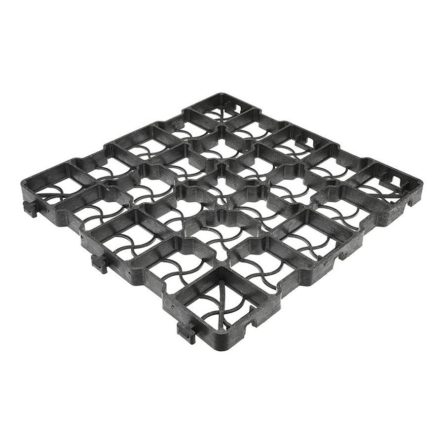 Černá plastová zátěžová zatravňovací dlažba GE25 - délka 41 cm, šířka 41 cm a výška 2,5 cm