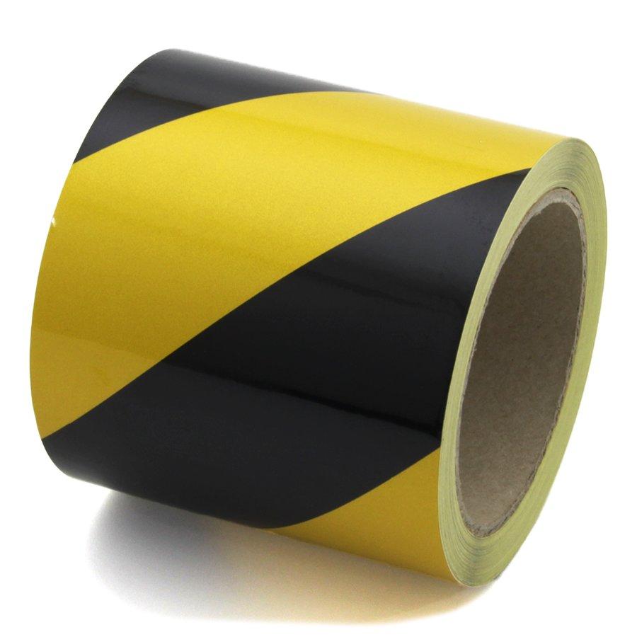 Černo-žlutá levá reflexní výstražná páska - délka 15 m a šířka 10 cm