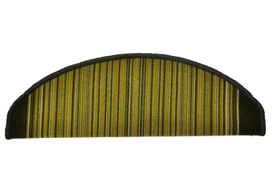 Zelený kobercový půlkruhový nášlap na schody Carnaby - délka 24 cm a šířka 65 cm