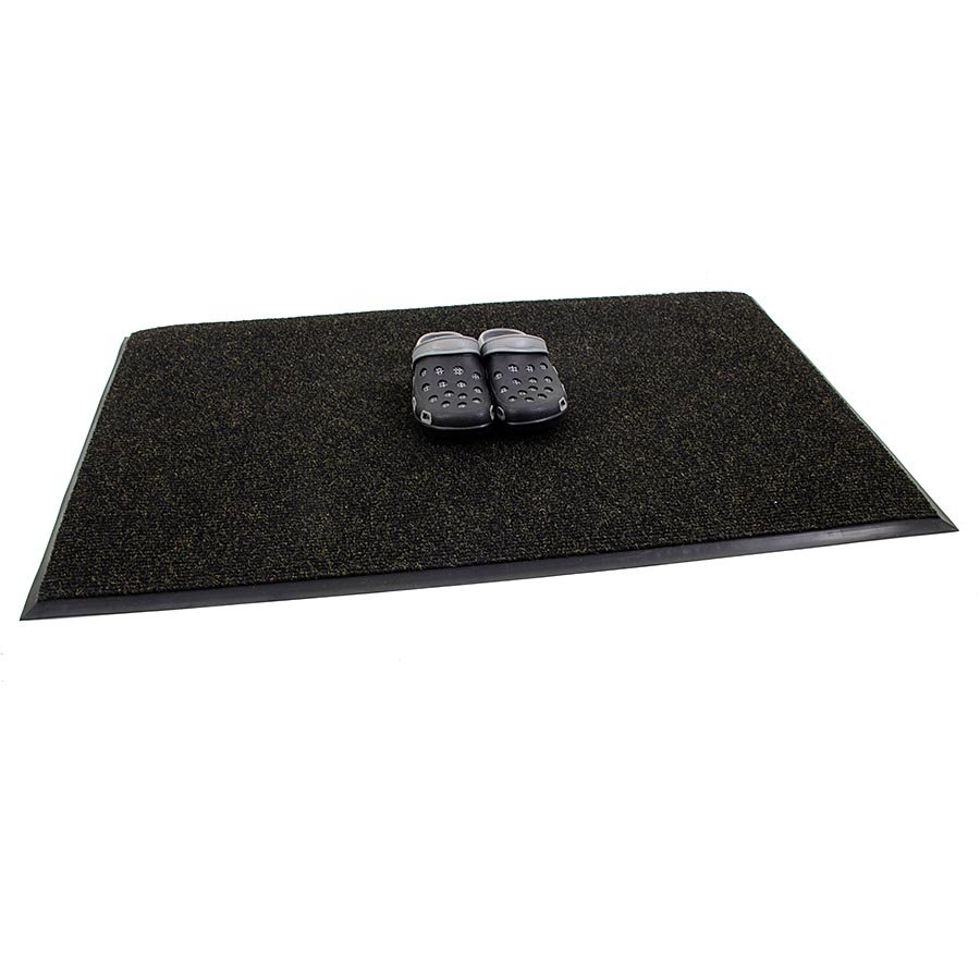 Černá textilní zátěžová čistící vnitřní vstupní rohož Catrine, FLOMA - délka 300 cm, šířka 150 cm a výška 1,35 cm