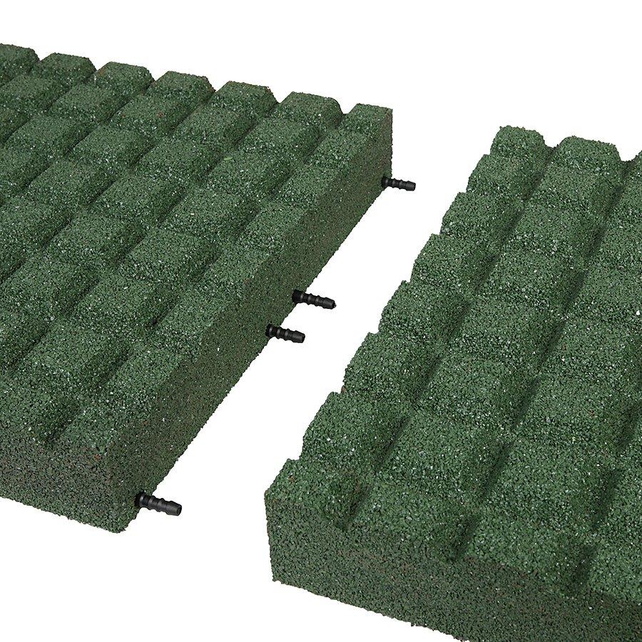 Zelená gumová dopadová dlaždice (V80/R15) FLOMA - délka 50 cm, šířka 50 cm a výška 8 cm