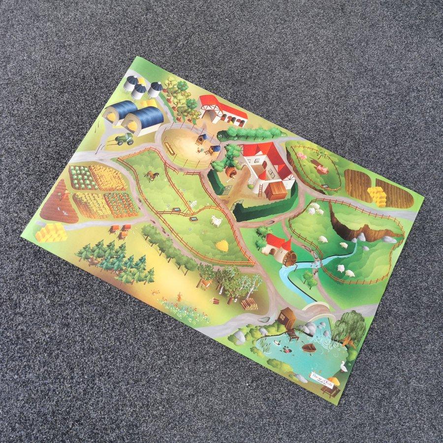 Různobarevný hrací kusový dětský koberec - délka 150 cm a šířka 100 cm