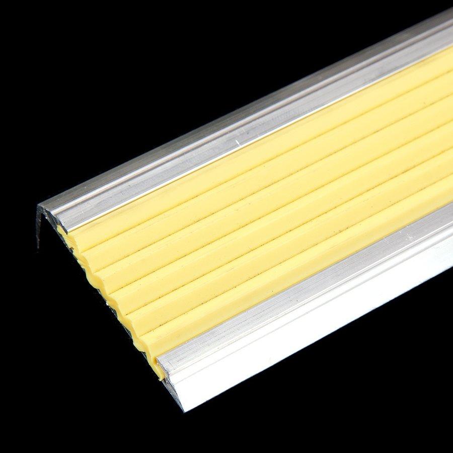 Žlutá hliníková schodová hrana s protiskluzovým páskem Antislip, FLOMA - délka 200 cm, šířka 5,3 cm a výška 2 cm