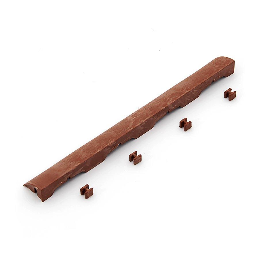 Hnědý plastový nájezd pro terasovou dlažbu Linea Easy - délka 39 cm, šířka 4,5 cm a výška 2,5 cm