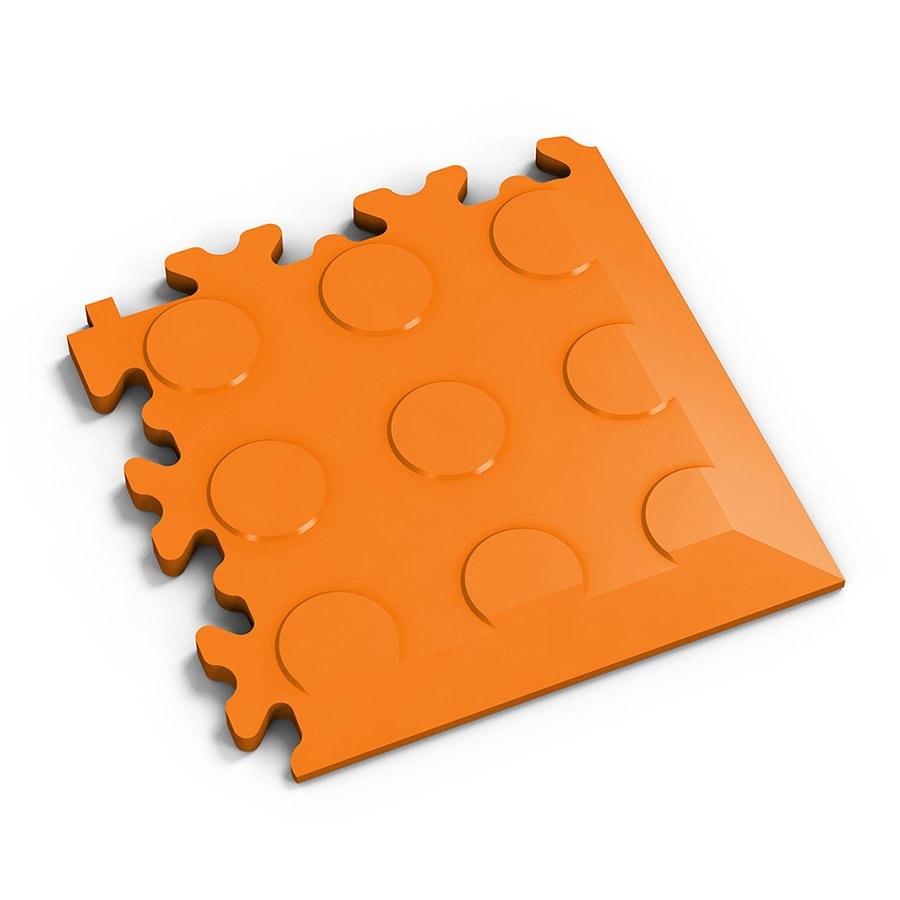 Oranžový vinylový plastový rohový nájezd 2046 (penízky), Fortelock - délka 14 cm, šířka 14 cm a výška 0,7 cm